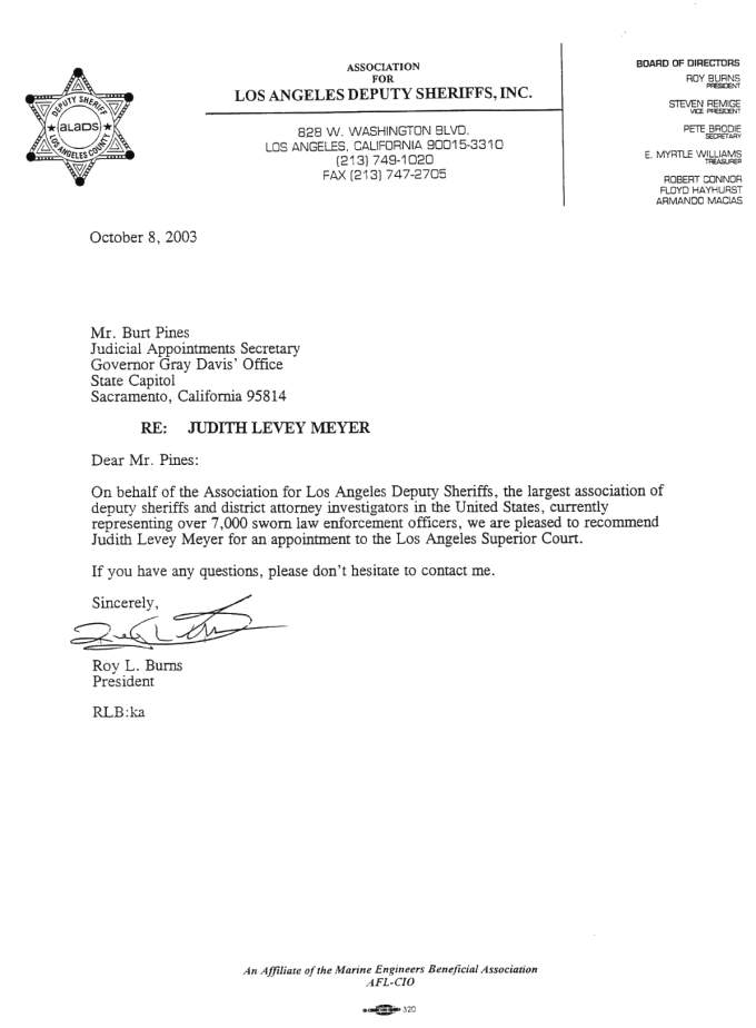 judge appointment letter of recommendation