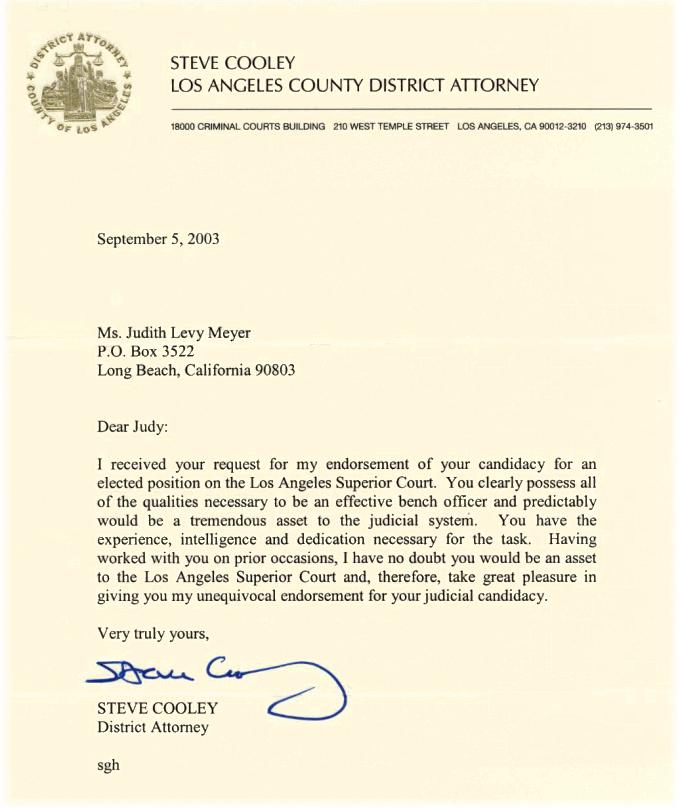 Endorsement letter elect judith l meyer for superior court los angeles county district attorney steve cooley endorses judith l meyer for los altavistaventures Images